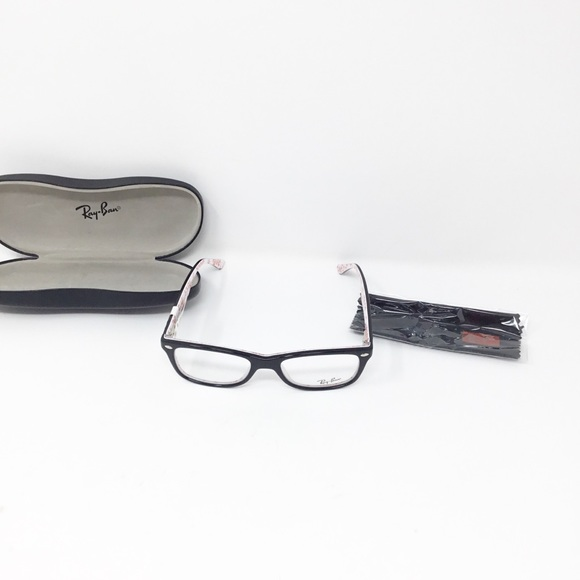 e466fc98f0 Ray Ban RX5228 5014 Shiny Black White 50mm glasses